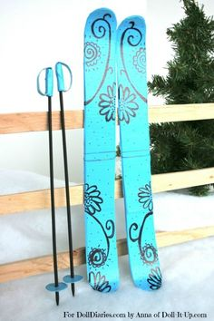 Doll Craft – Make a Pair of Doll Sized Skis Diy Crafts For Ag Dolls, Diy Ag Dolls, Og Dolls, Diy Doll, Girl Dolls, Crafts To Make, American Girl Accessories, Doll Accessories, American Girl Furniture