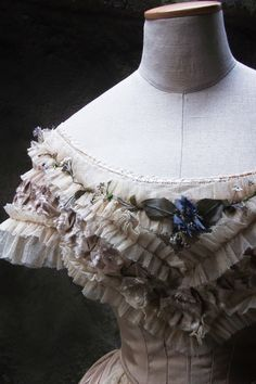 1861 BALL GOWN - reproduction. Bertha done with net, gorgeous texture.