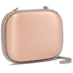 Stella Mccartney Nude Falabella Satin Clutch ($2,125) ❤ liked on Polyvore featuring bags, handbags, clutches, stella mccartney purse, nude clutches, nude purses, red clutches and satin purse