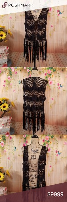 🌺Beautiful ALL SEASON BOHO FRINGED VEST OSFM🌺 These are such gorgeous vests!! Light open crochet design, gorgeous long fringes! This best can be worn year round to give anything that extra Bohemian/GYPSY Look! A must for all the boho/gypsy/ hippie fans out there!🌺🦋will fit many! Plz see measures in pics but is open vest that can be tied at chest. Has one crochet tie with tassels for tying at chest of desired. So BOHO beautiful!💖💖 Steve Madden Jackets & Coats Vests