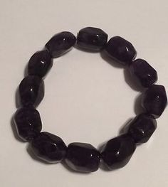 "BLACK QUARTZ Stretch Bracelet LARGE (8"") NEW"