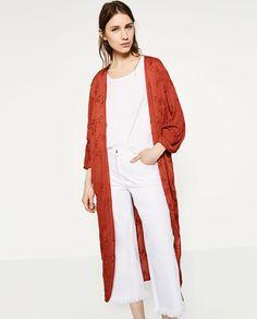 フラワー刺繍入りキモノ風コート-すべてを見る-オーバーコート-レディース | ZARA 日本