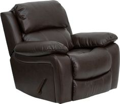 This motion recliner will provide you comfort with the added bonus of the rocking feature. The rocker recliner can not only be used in the living room, but makes for a great nursery chair. The gentle back and forth rocking is soothing to both babies and adults. The thick cushions add to the comfort level to provide you comfort while you relax. The durable leather upholstery allows for easy cleaning and regular care. [MEN-DA3439-91-BRN-GG].