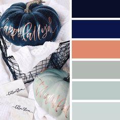 100 Color Inspiration Schemes : Copper + Navy Blue + Robin Egg Blue Color Palette