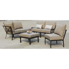 Mainstays Sandhill Outdoor Sofa Sectional Set, Seats 5 Image 2 of 6 Sofa Chair, Chair Cushions, Sofa Set, Sectional Sofa, Outdoor Sofa, Outdoor Furniture Sets, Outdoor Living, Outdoor Spaces, Beige Cushions