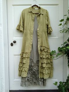 Krista Larson Strudel Eyelet Duster Coat/ Dress in Reed/RUFFLES