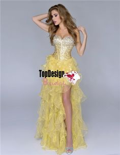 Wholesale beaded rhinestones yellow prom dress high-low organza 2016 new party dress 5024
