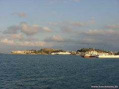 Corfu - view across the harbor to the old town