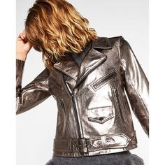 METALLIC LEATHER JACKET - Jackets-OUTERWEAR-WOMAN | ZARA United States (140 NZD) ❤ liked on Polyvore featuring outerwear, jackets, brown leather jacket, metallic leather jacket, genuine leather jackets, metallic jacket and brown jacket