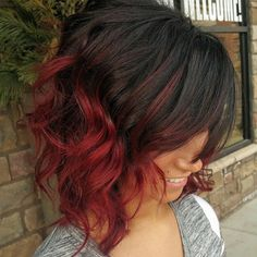 Image result for black to red ombre medium hair