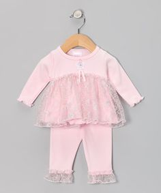 Take a look at this Too Sweet Pink & Silver Lace Babydoll Tunic & Leggings by Too Sweet on #zulily today!