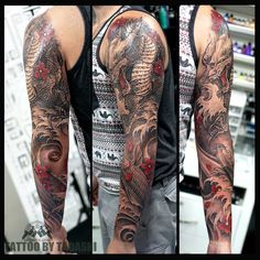 Caring For A New Tattoo - Hot Tattoo Designs Arm Tattoos Color, Full Sleeve Tattoos, Tattoo Sleeve Designs, Tattoo Designs Men, Arm Tattoos Japanese, Traditional Japanese Tattoo Sleeve, Japanese Tattoo Designs, Tiger Tattoo Sleeve, Geometric Sleeve Tattoo