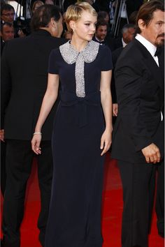 Carey Mulligan in a rystal-encrusted navy maxi by Azzaro.    #peterpancollar  http://www.glamourmagazine.co.uk/fashion/celebrity-fashion/2012/01/carey-mulligan-fashion-style-best-dresses#!image-number=23