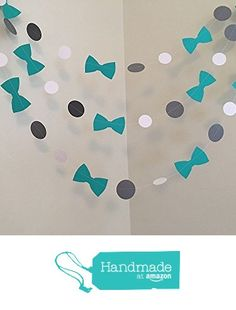 Teal and Gray Little Man Baby Shower Decorations Bow tie Baby Shower Bowtie Garland It's a Boy 1st Birthday Decor Custom Colors 10FT of your color choices. from ClassicBanners http://www.amazon.com/dp/B01A5VTSW4/ref=hnd_sw_r_pi_dp_-vOLwb0JQ82EK #handmadeatamazon