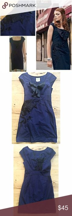 """EUC Anthropologie Floreat Embroidered Shift Dress Super gorgeous dress from Floreat in size 4. Much better looking in person. In a dark navy blue color with black trimming. Hidden side zipper and lined underneath. Measure about 34"""" length, 14"""" waist, 16"""" pit to pit. no flaws. ❌No trades or modeling. Open to reasonable offers. Thank you‼️ Anthropologie Dresses Midi"""