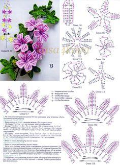 malva - flor de crochê com gráfico