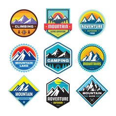 Sports Graphic Design, Vintage Graphic Design, Mountain Logos, Retail Logo, Mountain Climbing, Badge Design, Logo Sticker, Fashion Flats, Badges