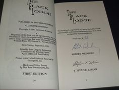 1991 Signed Limited Edition of The Black Lodge by Robert Weinberg Wildside Press