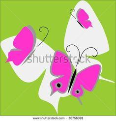 Pink #butterflies on green #illustration