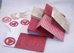 6 Decorated Cards, Matching Envelopes - Repurposed Reds & Golds Scrapbook Paper, White Card Stock. $3.75, via Etsy.
