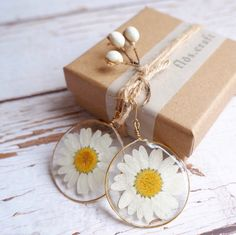 Excited to share this item from my shop: Real Daisy Pressed Flower Earrings, Resin Earrings, Drop Earrings, Gift For Her
