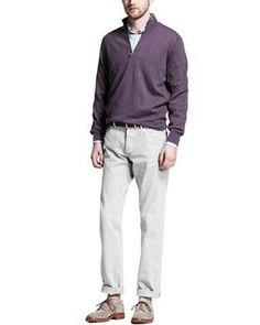 Brunello Cucinelli Cashmere Half-Zip Sweater, Check Spread Collar Shirt & Basic Fit Jeans - Neiman Marcus