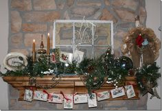 vintage christmas mantel with vintage window pane