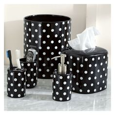 PB Teen Dottie Bath Accessory, Cup, Bright Pink Dottie at Pottery Barn... ($9) ❤ liked on Polyvore featuring home, bed & bath, bath, bath accessories, round trash can, pbteen, hot pink bath accessories, square tissue box holder and square trash can
