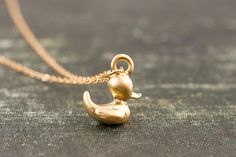 Gold duck necklace gold filled rubber ducky. tiny small by dorocy, $23.00