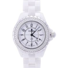 36acdc4393f Pre-owned Chanel J12 H0967 White Ceramic wDiamond 33mm Quartz Womens... (
