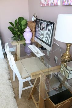 Chic glass computer desk More DIY Desk Ideas for a Posh Home Office