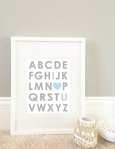 I Love You Blue Alphabet Wall Art by MiniMommaDesigns on Etsy