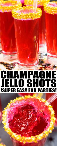 Quick and easy CHAMPAGNE JELLO SHOTS recipe, made with a few simple ingredients. Great for serving at New Year's parties with many flavor possibilities. From cakewhiz.com #champagne #jello #recipes #newyear