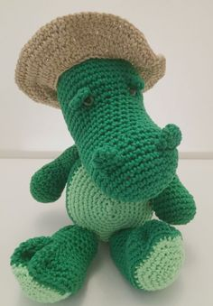 Crochet crocodile with hat by INfictionCreations on Etsy