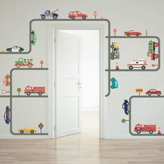 Cars, Trucks & EMS Vehicles Wall Decals plus Gray Road Curved and Straight