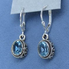 Genuine Sky Blue Topaz Earrings - Leverback - Sterling Silver - Victorian Style - Small Dainty - Oval - Filigree - Boho - 171358