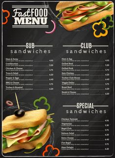 Fast Food Sandwiches Menu Advertisement Poster by macrovector Fast food cafe healthy options wholegrain wheat multigrain sandwiches blackboard menu realistic advertisement poster print vector food banner Menue Design, Food Menu Design, Food Poster Design, Sandwich Menu, Burger Menu, Cafe Menu Design, Restaurant Menu Design, Sandwiches, Healthy Options