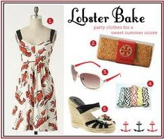 Would love this lobster dress and super cute paired with the Tory Burch bag. Lobster Feast, Lobster Boil, Lobster Bake Party, Crab Shack, Party Fashion, Women's Fashion, Tory Burch Bag, Passion For Fashion, Fashion Dresses
