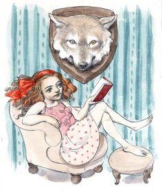 Reading Little Red Riding Hood (ilustración de Kristin Kwan)