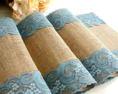 Country wedding table runner burlap and lace por HotCocoaDesign