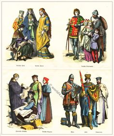 1200 AD: German and Italian upper class men's clothing (lower right)