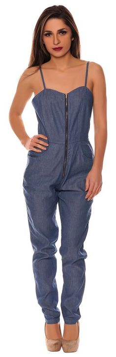 sexy jeans blau denim party abend jumpsuit overall anzug damen lang s. Black Bedroom Furniture Sets. Home Design Ideas
