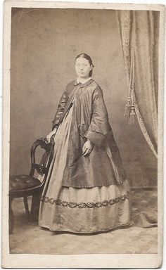 1860s Woman in Fine Maternity Dress Over Jacket by Capron Springfield Oh | eBay