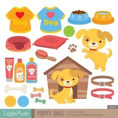 Cachorro perros Digital Clipart por LittleMoss en Etsy