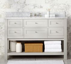Classic Single Wide Sink Console, Gray With Carrara Marble & Chrome finish Knobs At Pottery Barn - Bath - Sink Consoles - Single Sink Consoles Vanity Cabinet, Vanity Sink, Bath Vanities, Vanity Tops, Vanity Drawers, Vanity Mirrors, Wood Vanity, Wall Mirrors, Pottery Barn
