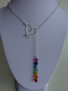 Seven Chakras Lariat Necklace, Gemstones Necklace, Meditation Necklace, Handmade by Iris Jewelry Creations.