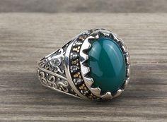 925 K Sterling Silver Man Ring  Green Jade Gemstone 11 US Size #istanbuljewelry #Cluster