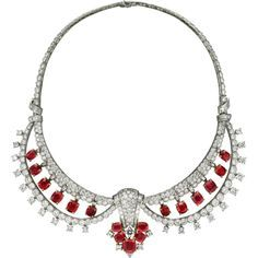 Collier Pièce ancienne Collier - platine, or jaune, rubis, diamants. Cartier New York, 1948.