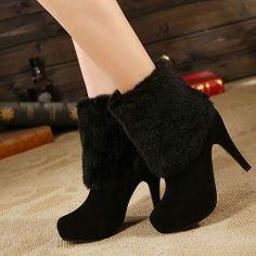 Popular Furry Lamb Wool Round-Toe Half Boot