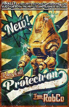 'Protectron Ad' Canvas Print by Fallout Posters, Fallout Props, Fallout Art, Fallout Wallpaper, Vault Tec, Vintage Graphic Design, Post Apocalypse, Canvas Prints, Art Prints